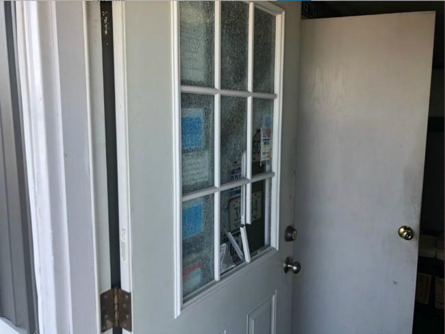 smashed glass door