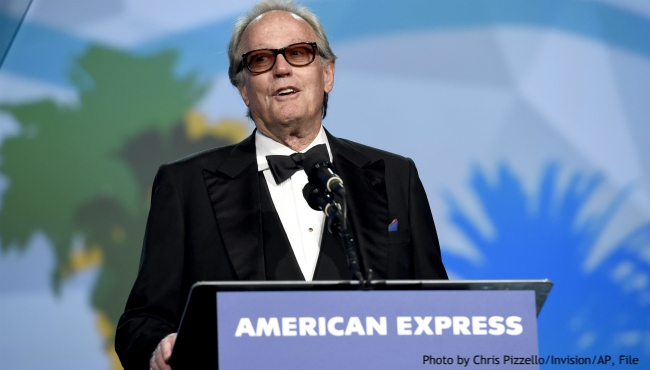 "FILE - In this Tuesday, Jan. 2, 2018 file photo, Peter Fonda presents the Desert Palm achievement award at the 29th annual Palm Springs International Film Festival, in Palm Springs, Calif. Fonda, the son of a Hollywood legend who became a movie star in his own right both writing and starring in counterculture classics like ""Easy Rider,"" has died. His family says in a statement that Fonda died Friday, Aug. 16, 2019, at his home in Los Angeles. He was 79. (Photo by Chris Pizzello/Invision/AP, File)"