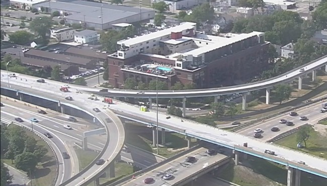 bird's-eye view of traffic on US-131 and I-196