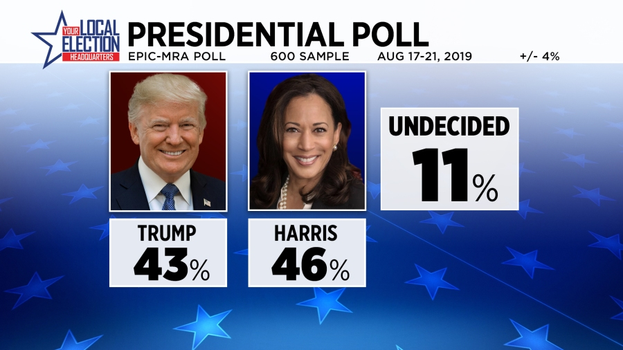 Graphic shows 43 percent for Donald Trump and 46 percent for Kamala Harris