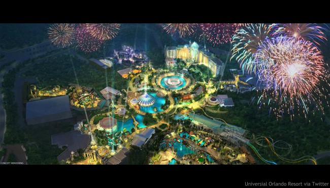 Concept art for new theme park Epic Universe that will open at Universal Orlando Resort.