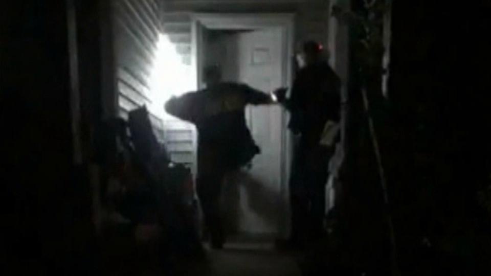 bail bondsmen door kicked in