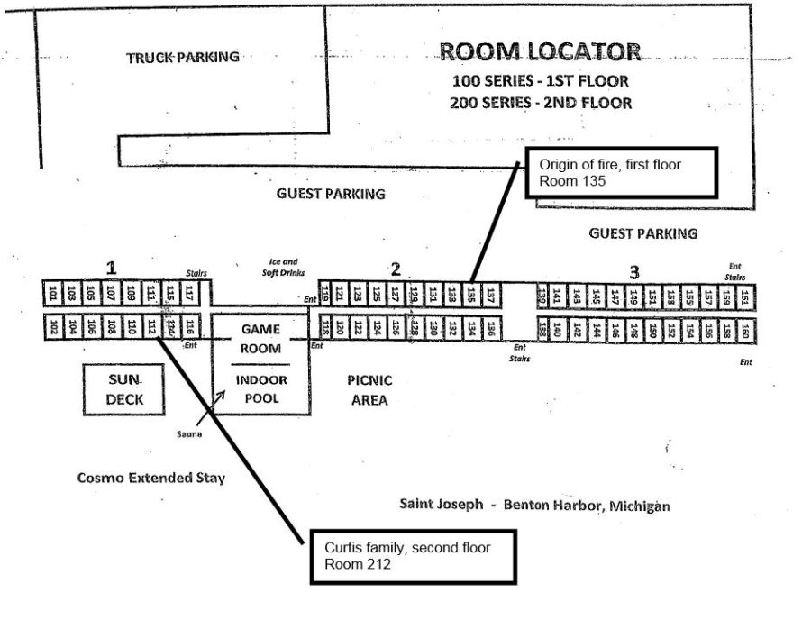 Chart shows where victims hotel unit was compared to origin of fire