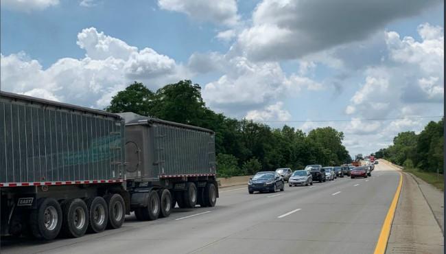 Line of cars on I-196