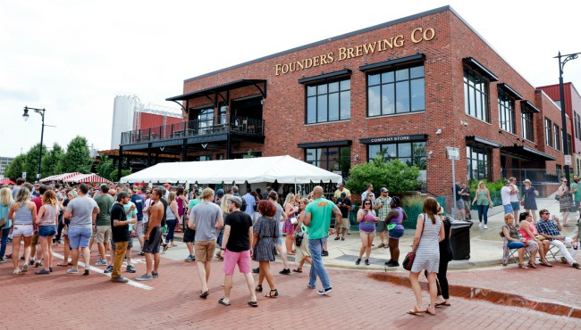 People outside Founders Brewing Company
