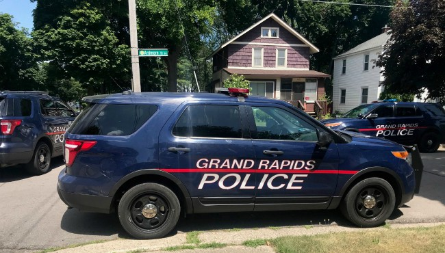 police cruisers surround purple house
