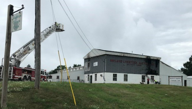 Ladder fire truck overs over burned auction building