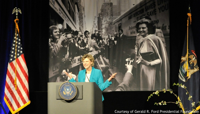 Cokie Roberts at the First Ladies Luncheon. (Courtesy Gerald R. Ford Presidential Foundation)