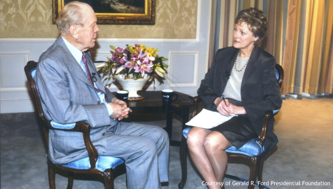 Undated photo of Cokie Roberts interviewing President Gerald Ford. (Courtesy Gerald R. Ford Presidential Foundation)