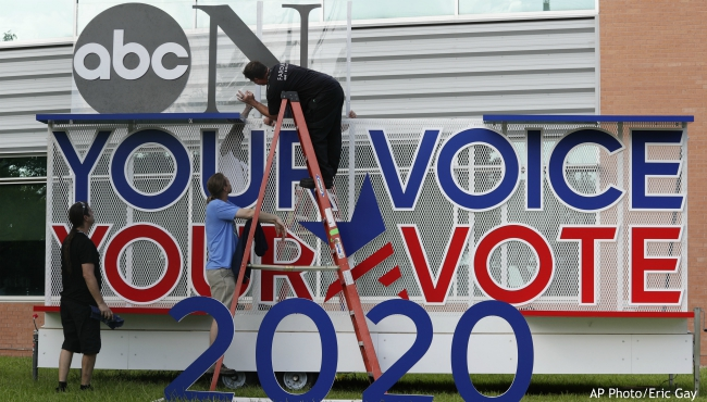 Signage is erected for the upcoming Democratic presidential primary debates hosted by ABC on the campus of Texas Southern University, Wednesday, Sept. 11, 2019, in Houston. (AP Photo/Eric Gay)