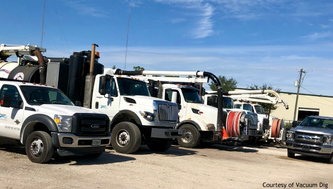 A photo of hydro excavation trucks from Vacuum Dig. (Courtesy of Vacuum Dig)