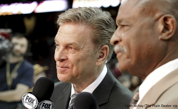 """In this Feb. 25, 2014, photo, longtime sportscaster and announcer Fred McLeod works with Austin Carr, right, at a Cleveland Cavaliers game in Cleveland. McLeod has died. He was 67. The Cavaliers said McLeod died suddenly Monday night, Sept. 9, 2019, but did not elaborate. They called him a """"great friend and teammate"""" and a """"heart-felt ambassador."""" (Lynn Ischay/The Plain Dealer via AP)"""