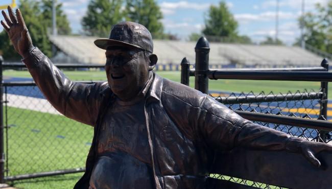 Jimmy Gerken waving statue