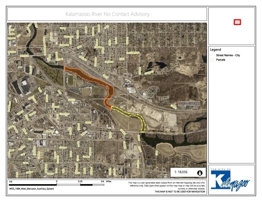 Kalamazoo River No Contact Advisory map