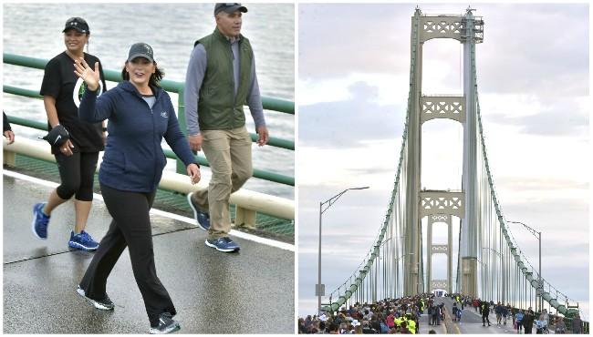 governor walks on mackinac bridge and crowds fill bridge
