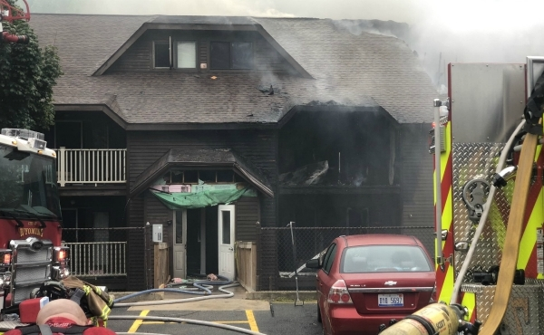 A fire at the Timber Ridge Apartments in Wyoming (Sept. 21, 2019)