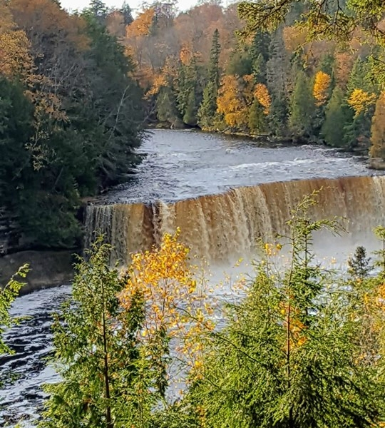 A photo of the upper falls at Tahquamenon Falls State Park. (Courtesy of Jennifer Kevin Kodat)