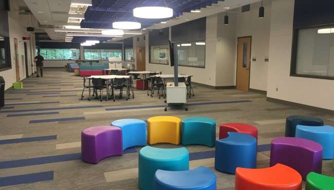 colorful stools inside portage north middle school