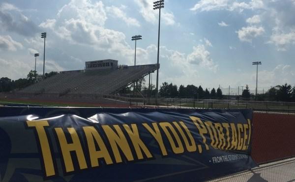 Thank you banner at stadium