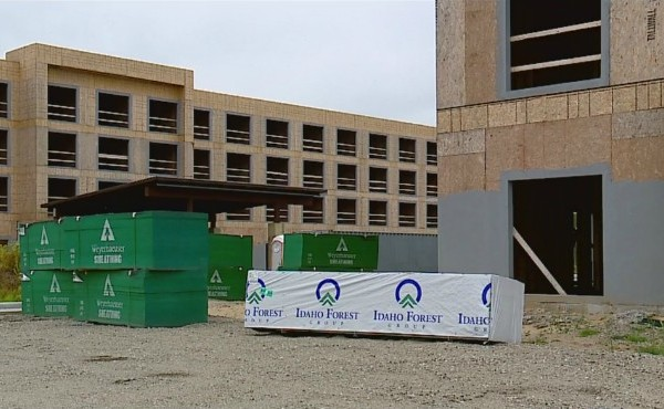 Two motel building skeletons