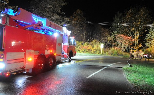 Authorities on scene of a deadly crash in Allegan County Wednesday, Oct. 31, 2019. (South Haven Area Emergency Services)