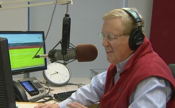 A photo of broadcast personality Andy Rent at the 100.5 The River studio. (Oct. 18, 2019)