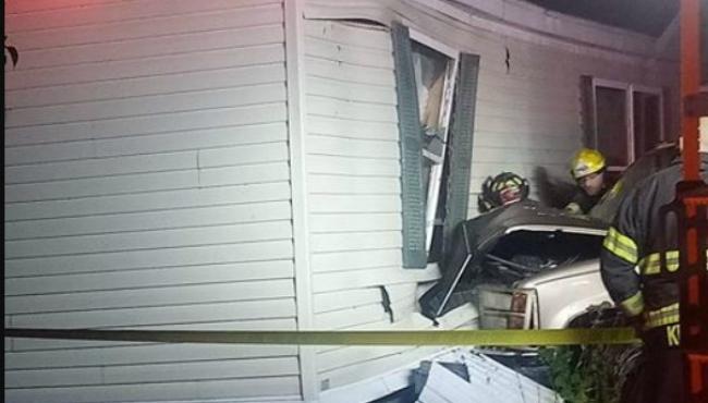A photo of a vehicle crashing into a mobile home in Cutlerville. (Courtesy of Pschigoda Schultz)
