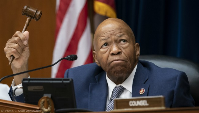 In this June 12, 2019 file photo, House Oversight and Reform Committee Chairman Elijah E. Cummings, D-Md., wields his gavel on Capitol Hill in Washington, Wednesday, June 12, 2019. (AP Photo/J. Scott Applewhite)