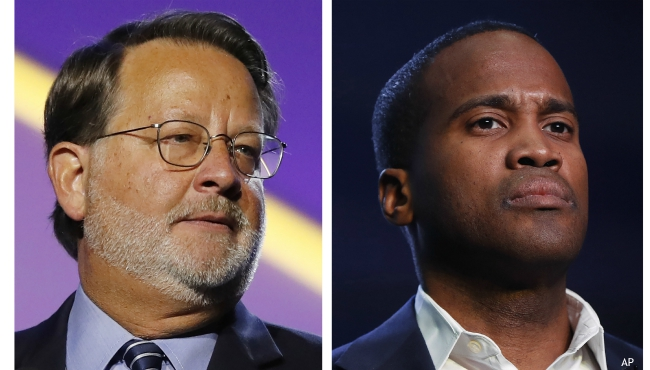In this combination of 2018 and 2019 file photos are from left, Democratic U.S. Sen. Gary Peters, D-Mich., and Republican U.S. Senate candidate John James. James raised more than $3 million in the last quarter, at least $500,000 more than Peters. Fundraising figures announced Tuesday, Oct. 15, 2019, by the campaigns shows that the first-term senator has a financial edge, but the challenger is making up ground. (AP Photos, File)