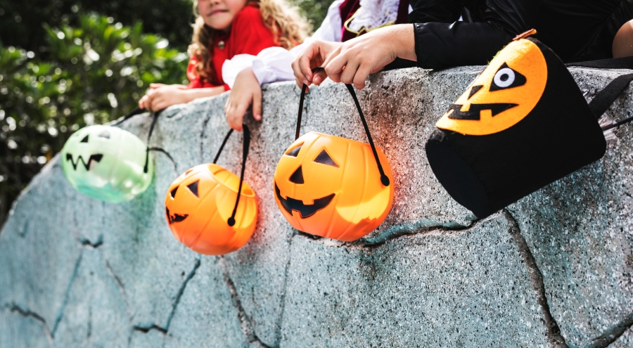 Little kids trick or treating.