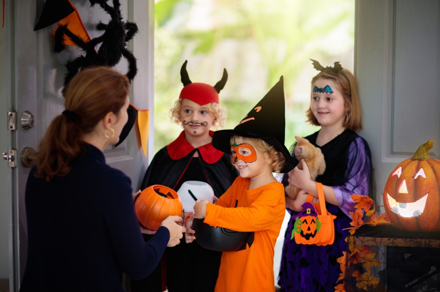 Kids trick or treating.