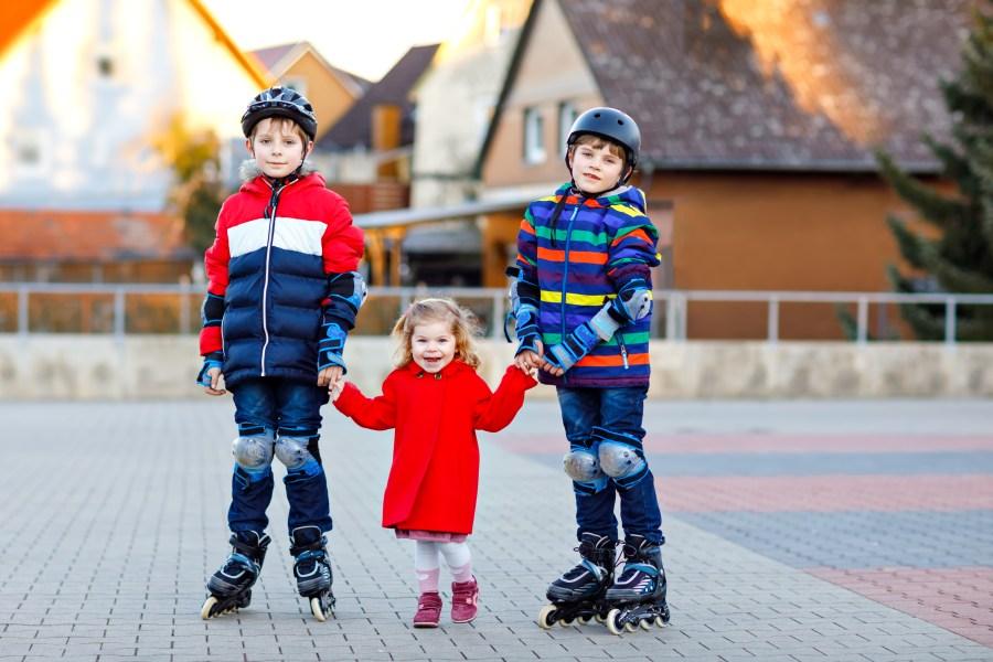 Kids roller blading.