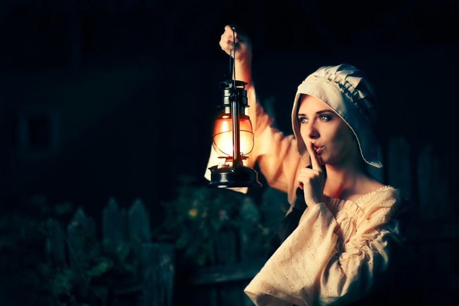 Theater girl acting a spooky renaissance girl.