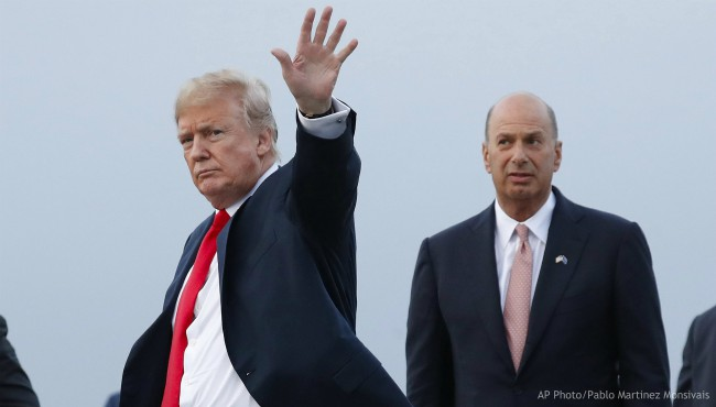 In this July 10, 2018, file photo, President Donald Trump is joined by Gordon Sondland, the U.S. ambassador to the European Union, second from right, as he arrives at Melsbroek Air Base, in Brussels, Belgium. (AP Photo/Pablo Martinez Monsivais, File)