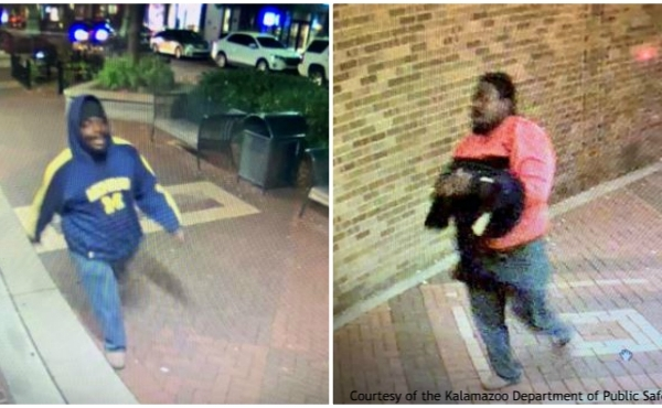 Surveillance photos of a man accused of assaulting a woman in Kalamazoo on Oct. 12, 2019. (Courtesy of the Kalamazoo Department of Public Safety)
