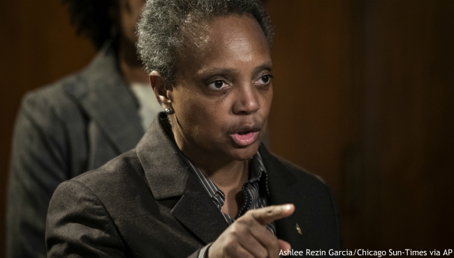 Mayor Lori Lightfoot speaks about the Chicago Teachers Union strike during a press conference at City Hall, Thursday morning, Oct. 31, 2019. (Ashlee Rezin Garcia/Chicago Sun-Times via AP)