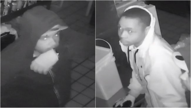 Surveillance photos of two suspect wanted in connection to several break-ins in three counties. (Kalamazoo County Sheriff's Office)