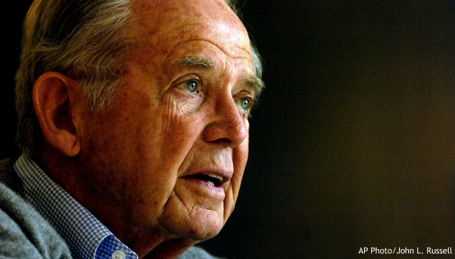 FILE - In this April 18, 2006 file photo, former Gov. William G. Milliken speaks with a reporter at his home in Traverse City, Mich. The Michigan Department of Natural Resources is renaming a state park along the Detroit River in Detroit for ex-Gov. William Milliken. (AP Photo/John L. Russell, File)