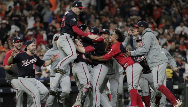 The Washington Nationals celebrate after Game 7 of the baseball World Series against the Houston Astros Wednesday, Oct. 30, 2019, in Houston. (AP Photo/David J. Phillip)
