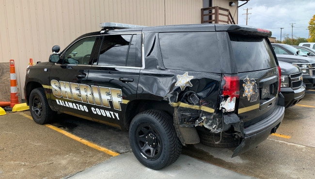 A photo of Kalamazoo County Sheriff's cruiser after a suspected drunk driver smashed into the back of it.  (Oct. 22, 2019)