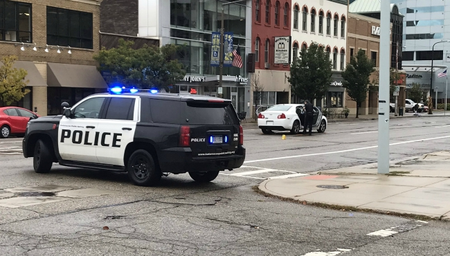 A photo of a crash at Michigan Avenue and Church Street in Kalamazoo. (Oct. 11, 2019)