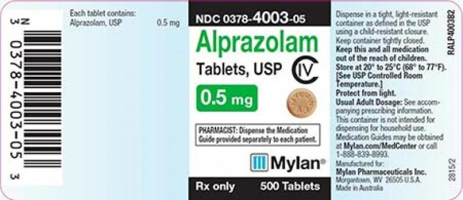 recalled alprazolam label