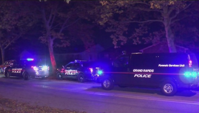 Authorities are investigating after a house was struck by bullets in Grand Rapids Monday, Oct. 28, 2019.