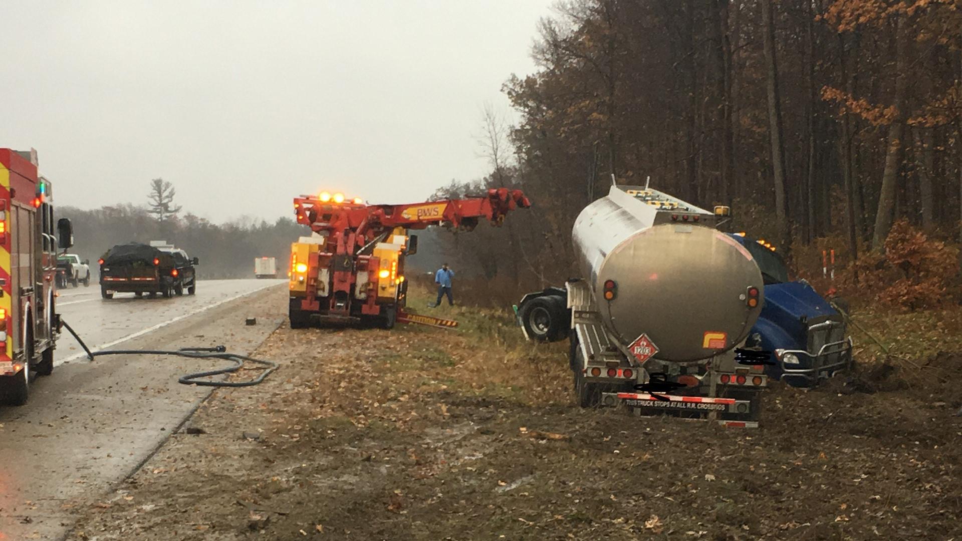 I-96 M-6 tanker truck rollover