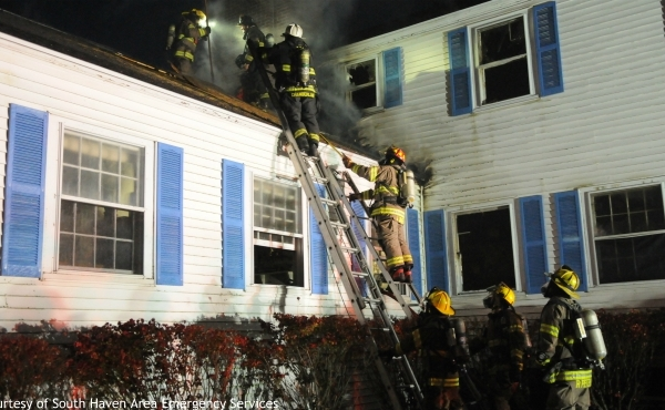 Crews responding to a fire in Casco Township on Nov. 9, 2019. (Courtesy of South Haven Area Emergency Services)
