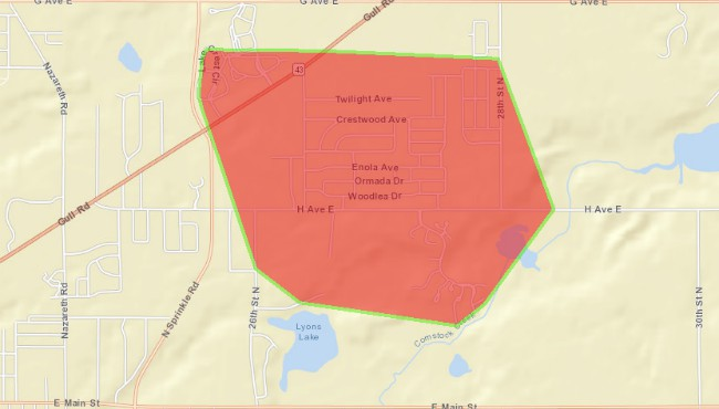 A power outage in Comstock Township Monday, Nov. 11, 2019 as seen on the Consumers Energy outage map.