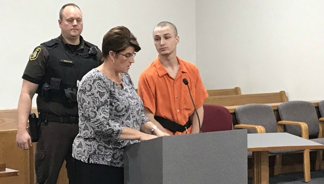 A photo of 19-year-old Emil Skokin in court on Nov. 6, 2019.