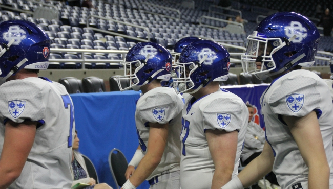 Grand Rapids Catholic Central's football team wins the Division 4 state title at Ford Field in Detroit on Nov. 29, 2019.