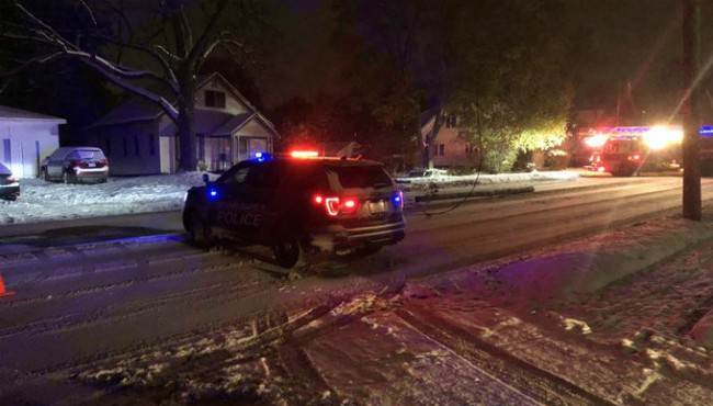 Authorities on scene after a crash knocked out power in Grand Rapids Tuesday, Nov. 12, 2019.