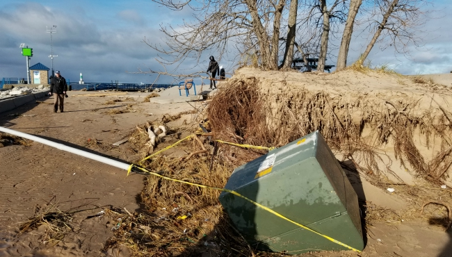 A contributed photo of damage at Holland State Park on Nov. 28, 2019.